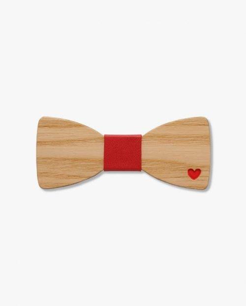дървена папионка париж в червено
