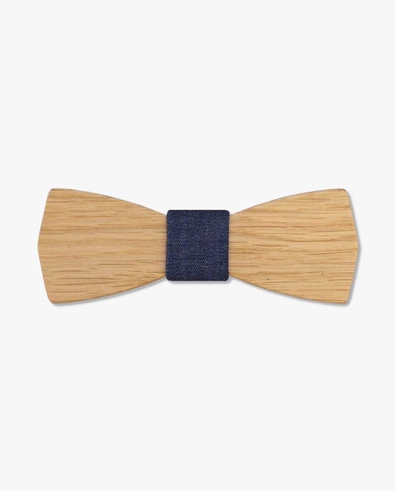 дървена папионка дънков плат