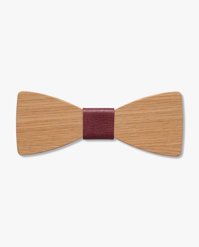 дървена папионка кожа бордо