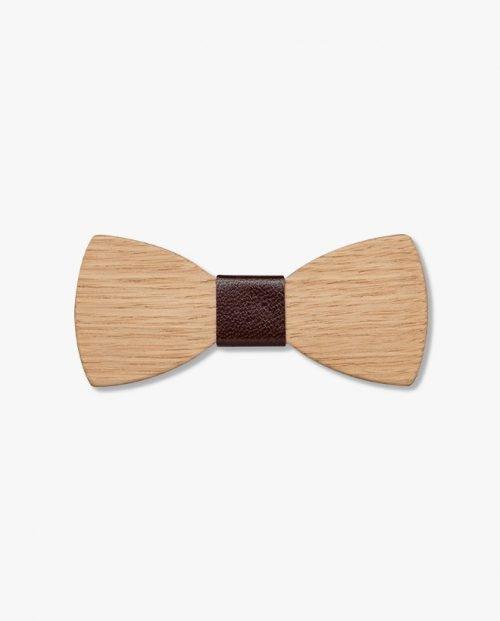 дървена папионка кафява кожа