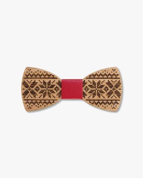 дървена папионка коледа