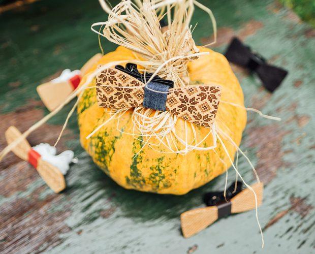 дървени папионки тиква дърварт хелоуин