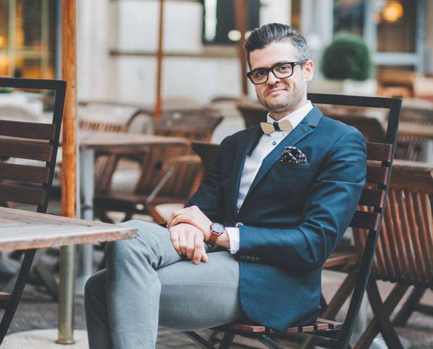 сако дървена папионка младоженец