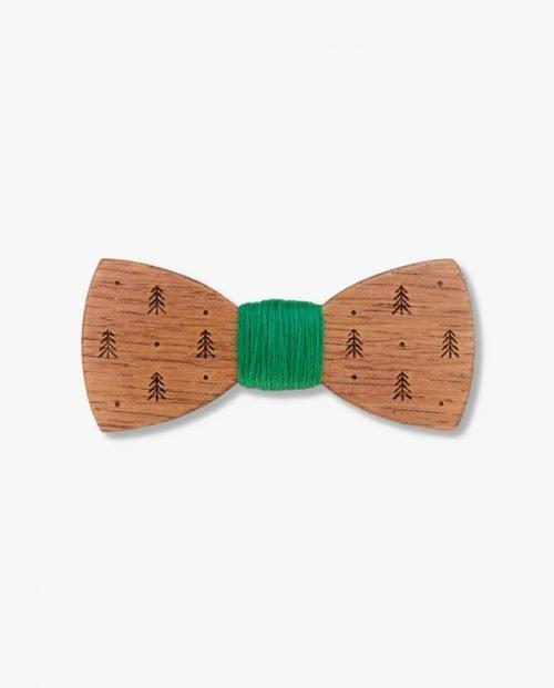 дървена папионка зелен конец