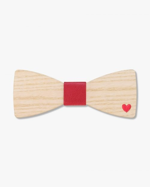 дървена папионка червено сърце