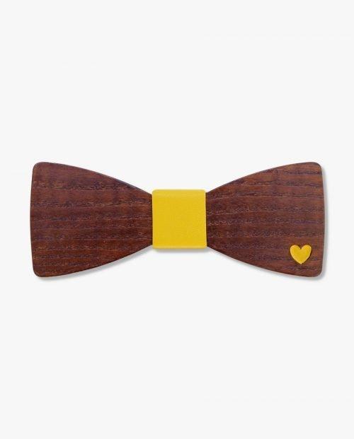 дървена папионка жълто сърце