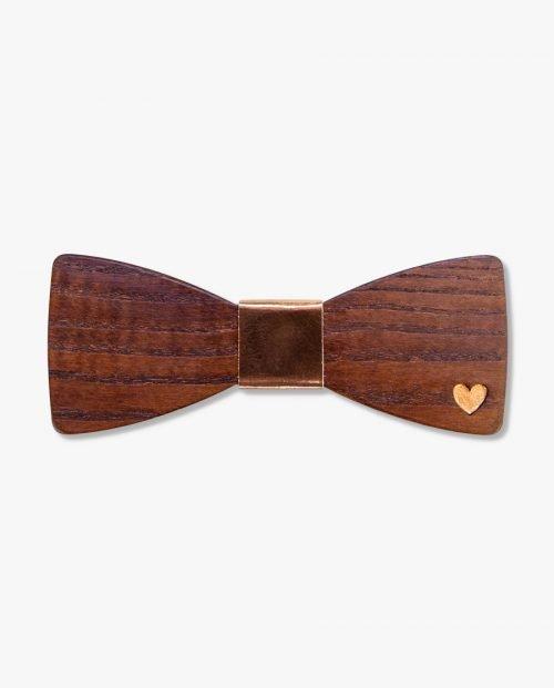 дървена папионка златно сърце