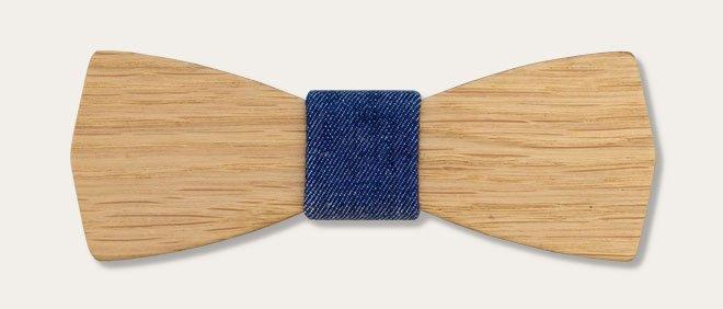 дървена папионка суров деним