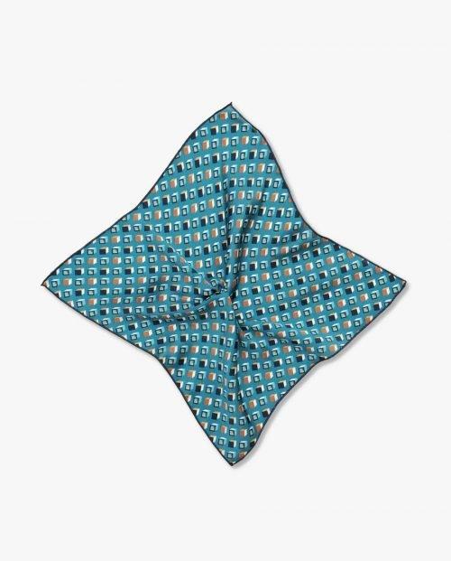 синя джобна кърпичка кубчета