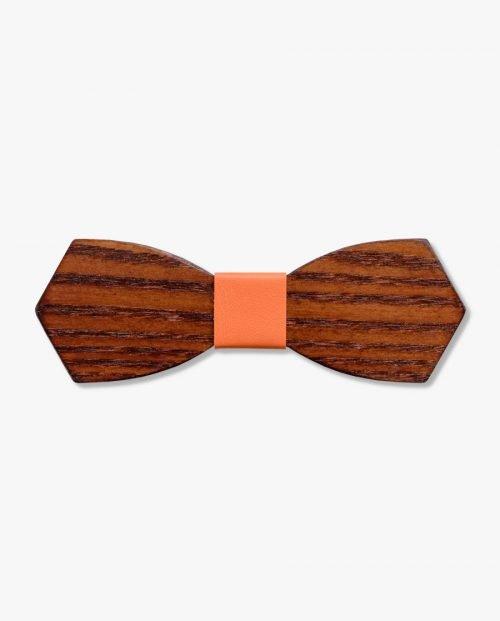 дървена папионка оранжева кожа