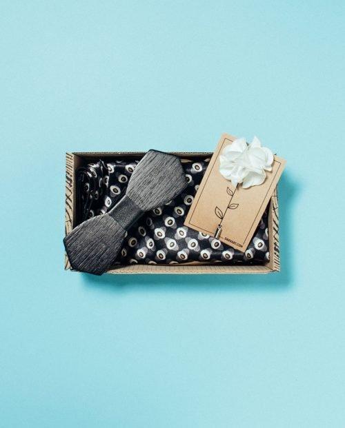 подарък черна папионка комплект