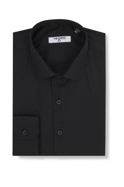 черна вталена риза слим