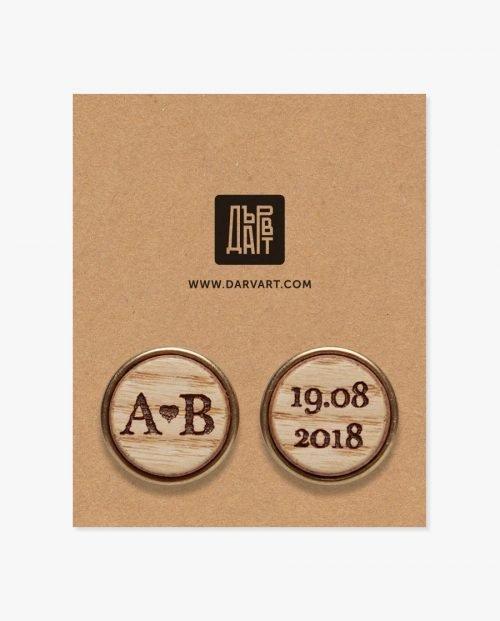 дървени бутонели инициали дата
