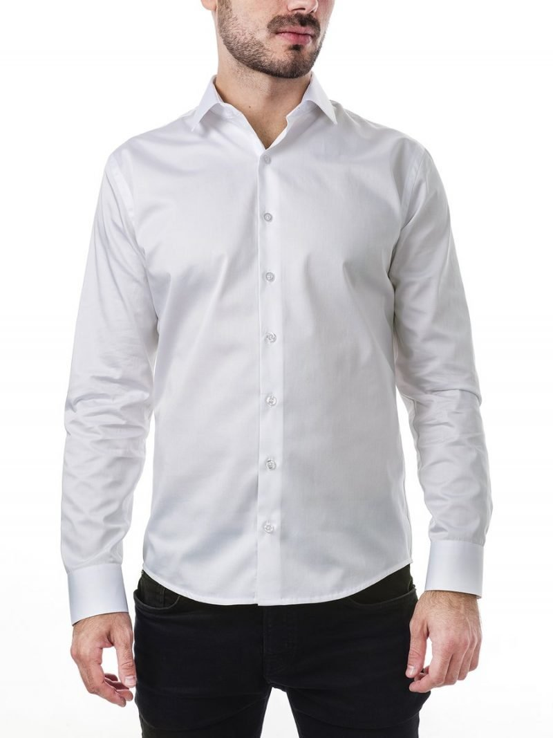бяла вталена риза слим