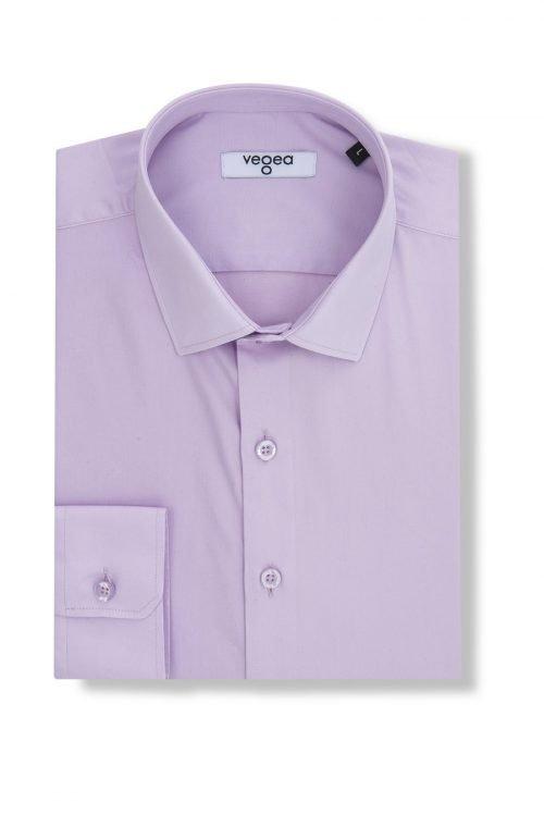 светлолилава вталена риза слим