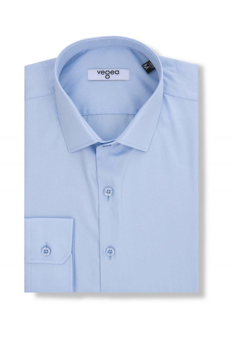 светлосиня вталена риза слим