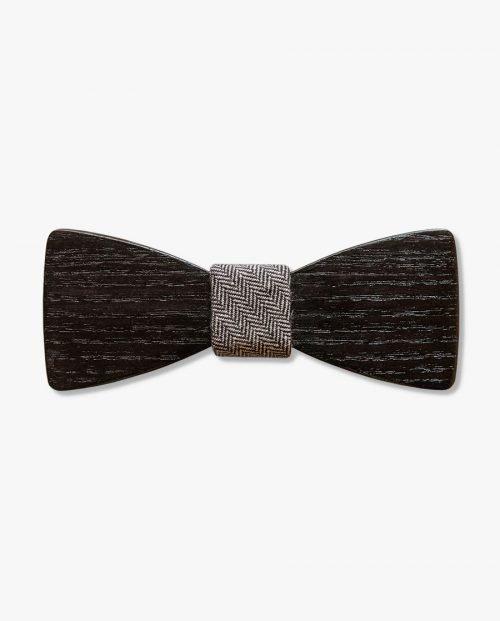 черна дървена папионка плат дърварт