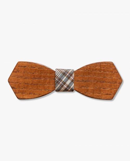дървена папионка кариран плат дърварт