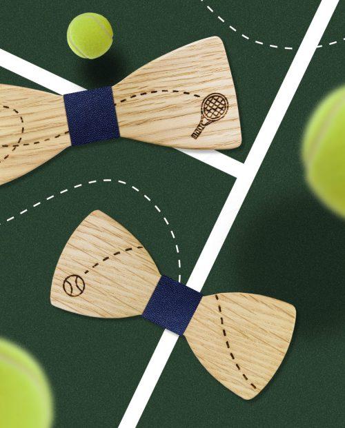 комплект дървени папионки тенис корт