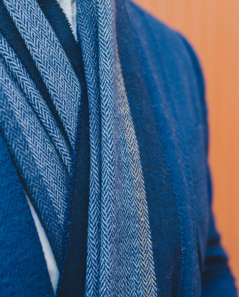 елегантен мъжки син шал сако