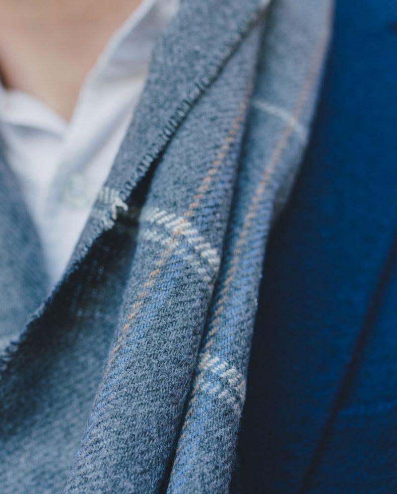 елегантен мъжки сив шал сако