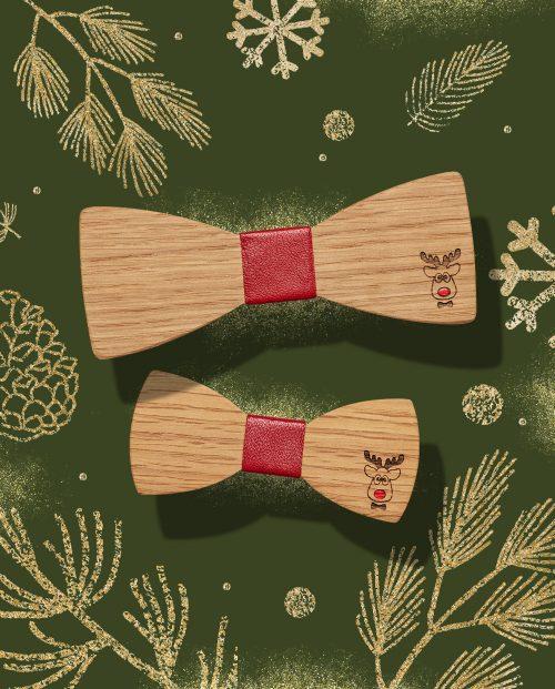дървена папионка рудолф коледа дърварт