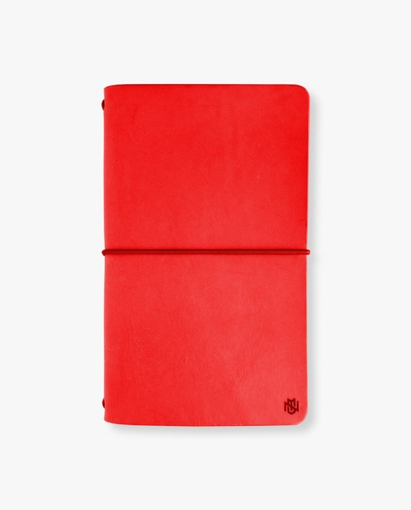 червен кожен тефтер бележник дневник