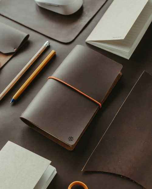 тъмнокафяв кожен тефтер бележник дневник