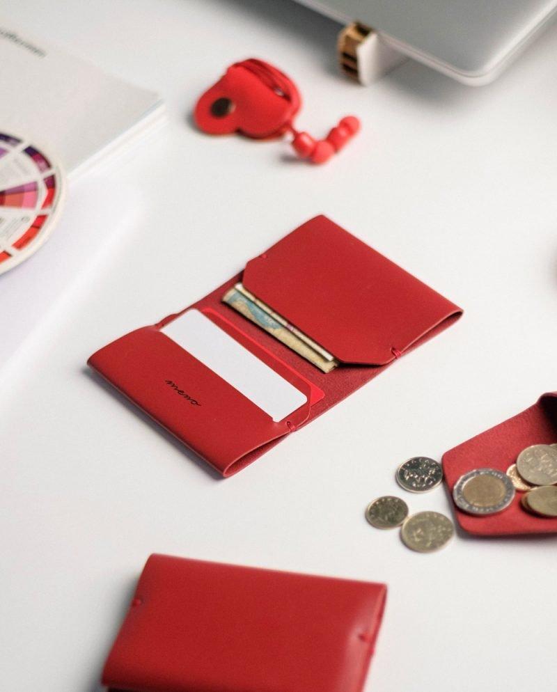 червен кожен портфейл картодържател мено
