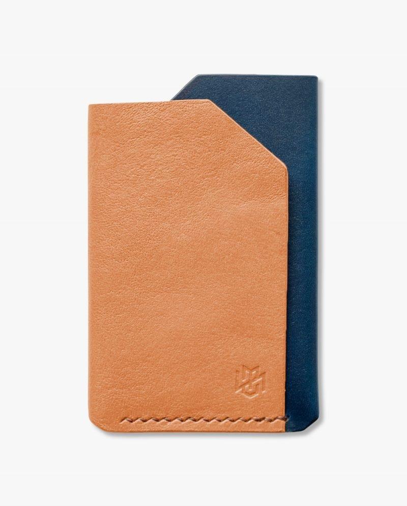 малък портфейл натурална синя кожа