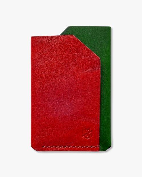 малък портфейл червена зелена кожа