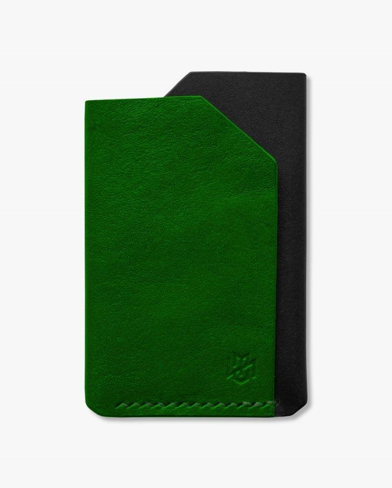 малък портфейл зелена черна кожа