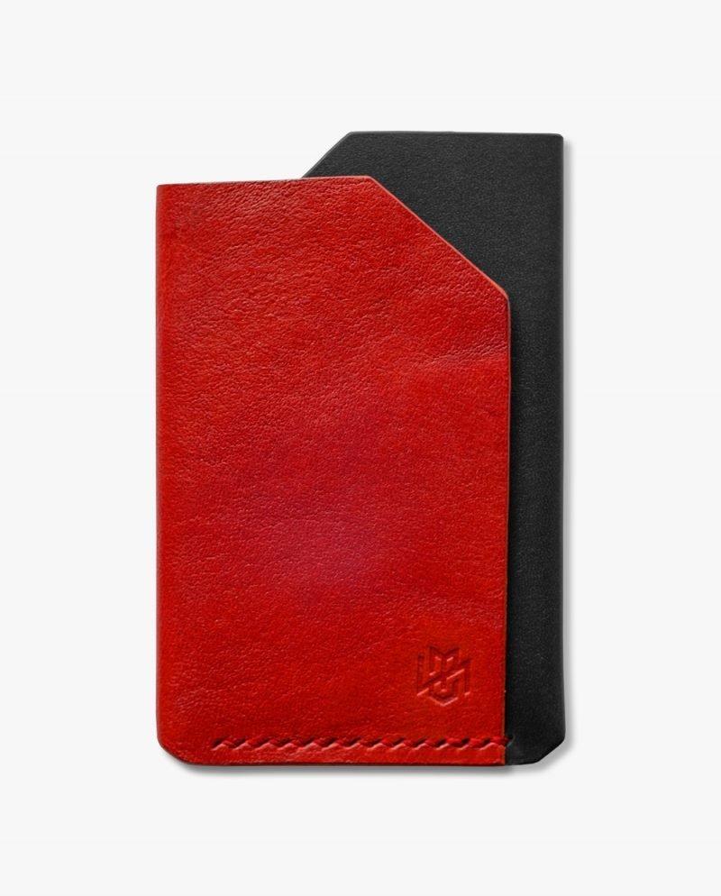 малък портфейл червена черна кожа